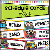 Daily Schedule Cards Editable and labeled in Spanish - Tar