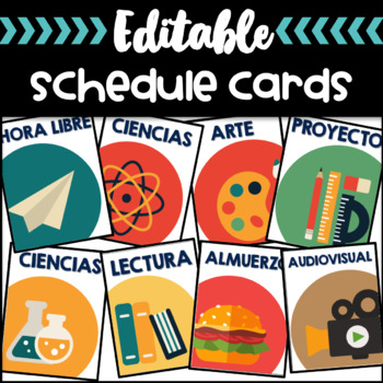 Daily Schedule Cards Editable and labeled in Spanish - Tarjetas de Horario