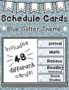 Schedule Cards: Glitter Theme (Blue)