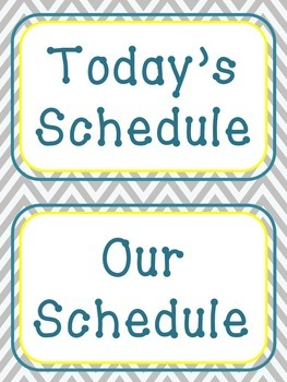 Schedule Cards - Gray Chevron and Yellow / Teal