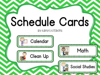 Schedule Cards- Green Chevron