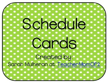 Schedule Cards - Green Polka Dots