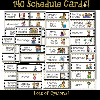 Daily Schedule Cards Editable Options