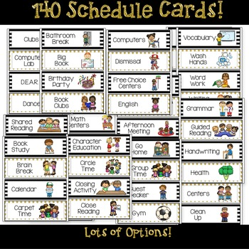Daily Schedule Cards Editable Options: Black and Gold Classroom Decor