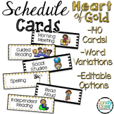 Daily Schedule Cards Editable Options: Black and Gold Clas