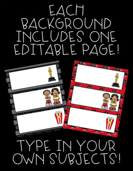 Hollywood Theme Schedule Cards! 57 Cards, Plus One EDITABLE Page!