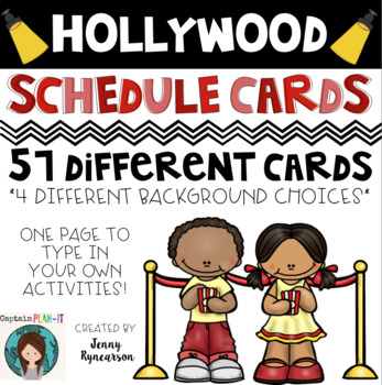 Schedule Cards! Hollywood Theme! 45 Cards, Plus One EDITAB