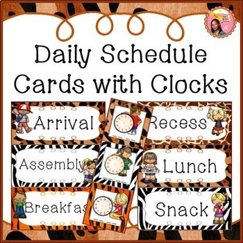 Schedule Cards for fixed daily non-subject routines - Jungle / Safari theme