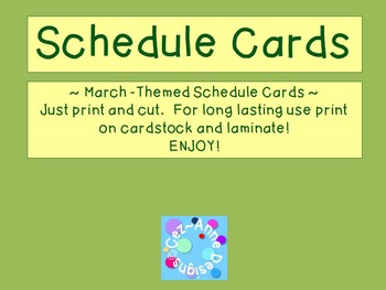 Labels - Schedule Cards ~ March Theme