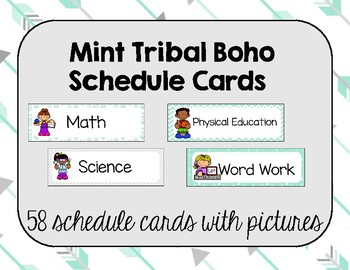 Schedule Cards- Mint Boho, Tribal, Arrows,