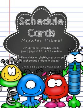 Schedule Cards! Monster Theme! 45 Different Cards, Plus One EDITABLE Page!