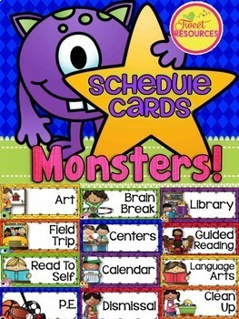 Schedule Cards {Monsters Classroom Decor Theme}