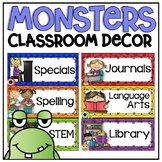 Schedule Cards in a Monsters Classroom Decor Theme for Back To School