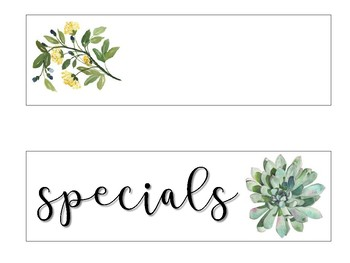 Subject Schedule Cards - Nature Themed