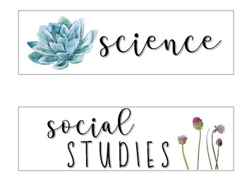 Subject Labels  - Nature Themed