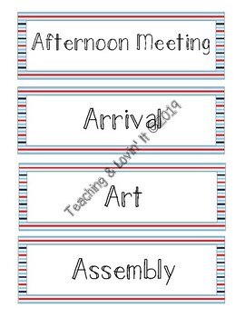 Schedule Cards - Nautical Stripe (Editable Template Included)