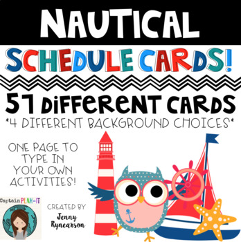 Nautical Theme (with Dunn-Inspired Font) Schedule Cards!