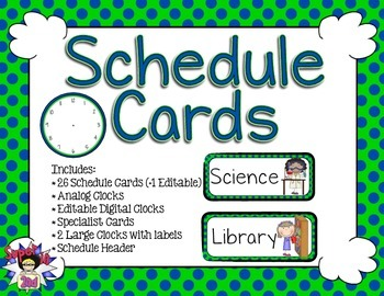 Schedule Cards - Navy Lime Dots