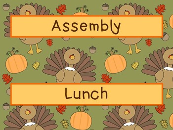 Labels - Schedule Cards ~ November Theme