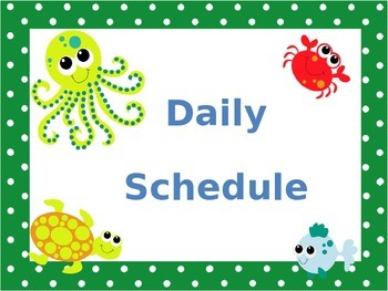 Schedule Cards Ocean Theme