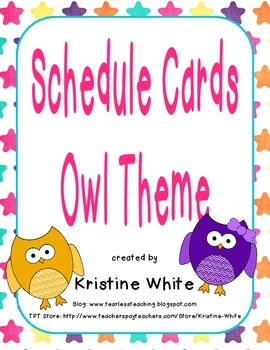 Schedule Cards Owl Theme