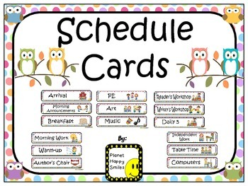 Schedule Cards  ~ Owl Theme