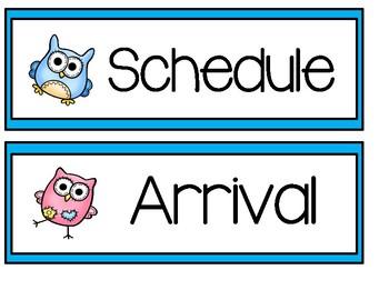 Schedule Cards - Owls
