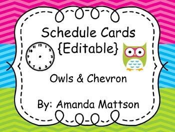 Schedule Cards--Owls & Chevron