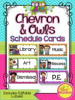 Schedule Cards {Owls and Chevron Decor Theme}