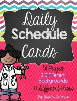 Schedule Cards {Polka Dots, Stripes, & Chevron}