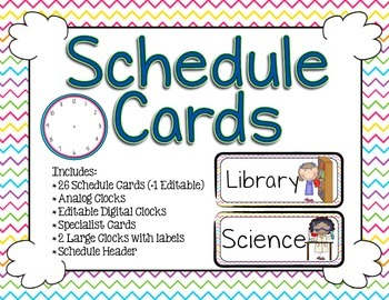 Schedule Cards - Print Colorful Chevron
