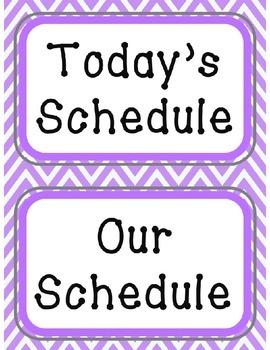 Schedule Cards - Purple Chevron