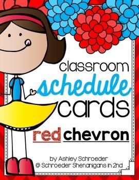 Schedule Cards RED CHEVRON