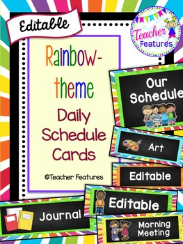Editable Schedule Cards- Rainbow Theme
