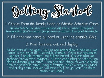 Daily Schedule Cards -Ready Made, Editable, and Blank Versions