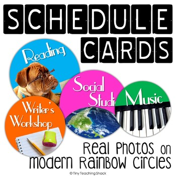 Editable Schedule Cards- Real Pictures on Rainbow Circles