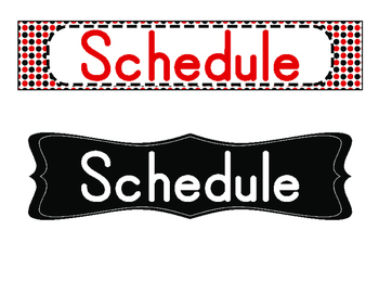 Schedule Cards (Red/Black Polka Dots)