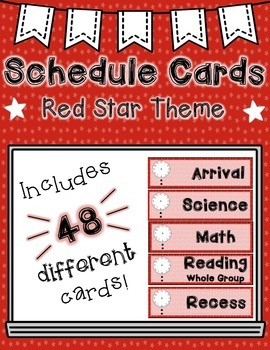 Schedule Cards: Red Star/Patriotic Theme