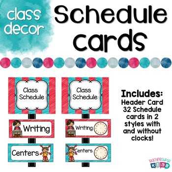 Schedule Cards Red and Teal