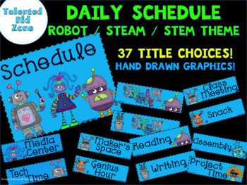 Back to School Schedule Cards Robot /STEAM / STEM Theme