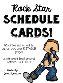 Schedule Cards! Rock Star Theme! 48 Different Cards, Plus One EDITABLE Page!