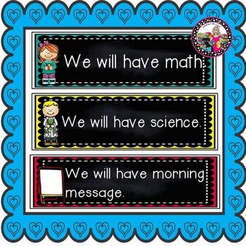 Schedule Cards!  Sentence form! Pre-k-2!