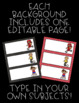 Sports Theme Schedule Cards! 57 Cards, Plus One EDITABLE Page!