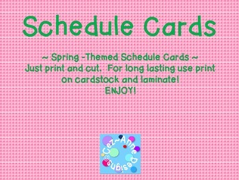 Labels - Schedule Cards ~ Spring Theme