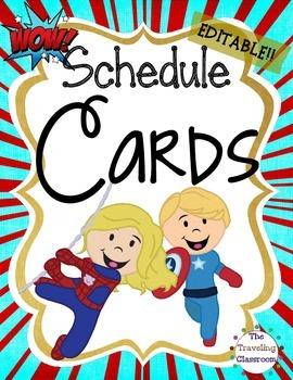 Editable Schedule Cards {Super Hero Theme}