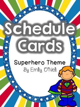 Schedule Cards (Superhero Theme)