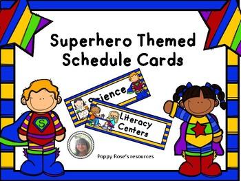Schedule Cards - Superhero Theme