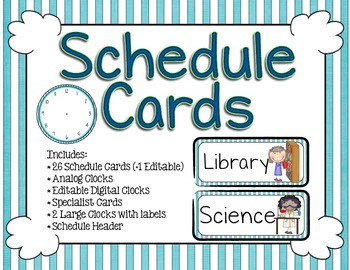Schedule Cards - Teal and White Stripes