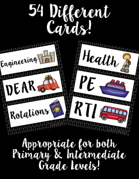 Schedule Cards! Travel Theme! 54 Different Cards, Plus One EDITABLE Page!
