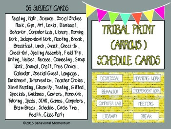 Schedule Cards (Tribal Print Arrow Theme)